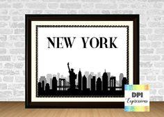 New York Art Print,  Printable New York Skyline, Statue of Liberty Art, Printable Wall Decor, City Silhoutte, INSTANT DOWNLOAD