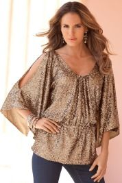 Boston Proper Cold-shoulder sequined top