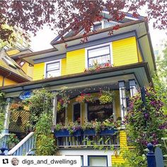 """oldfarmhouse: """" Yellow Shades Digs_and_dwellings """" Places Around The World, Around The Worlds, Yellow Cottage, Shades Of Yellow, Cottage Style, Townhouse, Beautiful Places, Sweet Home, Yard"""