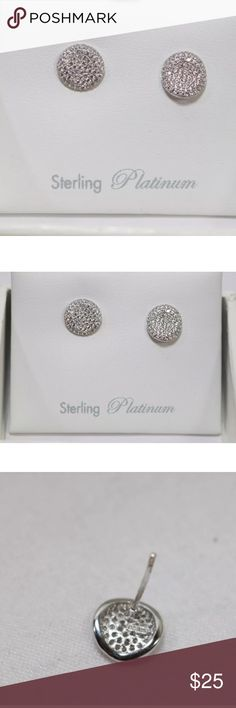Crislu simply pave stud earrings You are looking at a pair of Crislu .925 Sterling Silver & Cubic Zirconia Round Wavy Post Earrings.  The item is in original box and is in very good condition.  They are missing 1 of the silver backs but have both of the plastic ones as well so they can be worn.  They are about 9mm in diameter. Crislu Jewelry Earrings