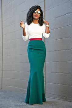 Long Sleeve Tee + Contrast Waist Maxi Skirt