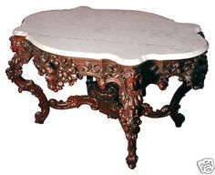"""Rare Alexander Roux 57"""" Carved Rosewood Marble Top Center Table #5480  #Rococo #AlexanderRoux"""