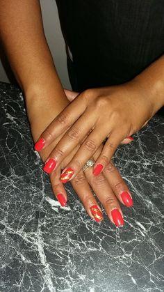 Logik Gel Polish - red orange with accent gold glitter strip nail