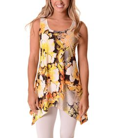 48ee00cbdce Lbisse Yellow   White Floral Sidetail Tunic - Plus