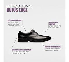 14d31302ddef53 Clarks Rufus Edge - Kids School Shoes Black Leather 2.5 F (Medium) Kids  School