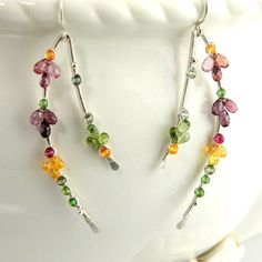 Silver wire wrap earrings, long gemstone dangles, tourmaline jewelry, curves, wishbone shape, lavender, plum, pink, yellow, artisan original