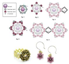 FARFALLE Bracelet (Ring/Earrings) - FREE Pattern. Use: 8 round beads 4mm, 96 peanut beads (color A), 144 peanut beads (color B), 3-4g seed beads 15/0, needle #12, toggle clasp, nylon thread, 2 connecting rings 4-6mm. Page 2 of 2