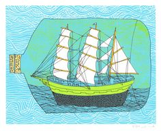 Ship In A Bottle- Hand-printed Artprint. $19.00, via Etsy.