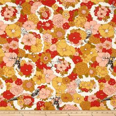 Moda Nomad Meadow Bone-Sunset from @fabricdotcom  Designed by Urban Chiks for Moda, this cotton print fabric is perfect for quilting, apparel and home decor accents. Colors include red, brown, orange, green, yellow, brown, pink, and white.