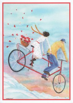 Valentine card of couple riding tandem bicycle.  Romantic watercolor card.  Inside of card:  The view is grand when we're together! by StellaJaneCards on Etsy