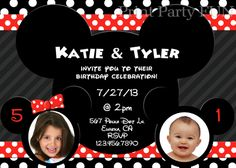 Minnie and Mickey Mouse Birthday Party Invitation, Twins, Boy and Girl