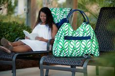 """New! Our new Monogrammed Island Palm Beach Bag is a botanical beauty! Not only is it a relaxing palm print, but is the perfect sized personalized beach bag to carry all of your necessities to the beach or pool this travel and outdoor recreational season! Our Island Palm Collection is a """"must have"""" to complete your resort look this season! www.beaujax.com"""