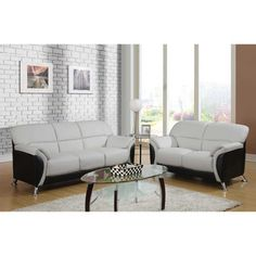 Light Grey and Black Two-tone PVC Modern Loveseat - Overstock™ Shopping - Great Deals on Sofas & Loveseats