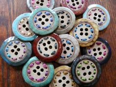 Stoneware ceramic and yarn buttons by Round Rabbit