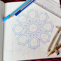 I got me some cheap.and actually not bad at all fineliners from I thought I'd test them out on one for the patterns… Islamic Art Pattern, Arabic Pattern, Geometry Pattern, Geometry Art, Pattern Art, Mandala Design, Mandala Art, Geometric Designs, Geometric Shapes