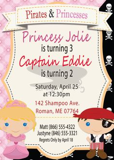 Hey, I found this really awesome Etsy listing at https://www.etsy.com/listing/244975592/pirate-and-princess-invitation-pirate