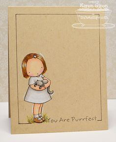 handmade card ... You Are Purrfect by karengiron  ... sweet little girl image colored with Prismacolor pencils ... luv the look of colored pencils on kraft ... border lines were hand drawn with a ruler ... sweet card!!