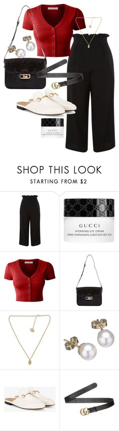 """""""Untitled #22517"""" by florencia95 ❤ liked on Polyvore featuring Topshop, Gucci, LE3NO, CÉLINE and London Road"""