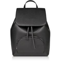 WINONA Drawstring Backpack Black ($119) ❤ liked on Polyvore featuring bags, backpacks, genuine leather bags, day pack backpack, leather backpack bag, draw string bag and leather backpack