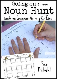 Fun grammar activity for kids! Printable alphabet chart to go on a noun hunt! Pinned by SOS Inc. Resources. Follow all our boards at pinterest.com/sostherapy/ for therapy resources.