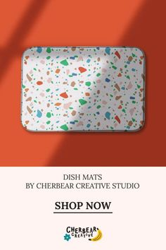 Red and Green Terrazzo Dish Mat by Cherbear Creative Studio Design Textile, Fabric Design, Pattern Design, Sustainable Living, Sustainable Fashion, Bandana Bow, Eco Friendly House, Etsy Business, Marketing