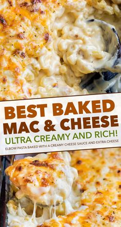 Rich and creamy homemade baked mac and cheese, filled with multiple layers of shredded cheeses, smothered in a smooth cheese sauce, and baked until bubbly and perfect! This baked mac and cheese is a family favorite recipe, loved by children and adults. Good Macaroni And Cheese Recipe, Mac And Cheese Homemade, Best Mac And Cheese, Mac Cheese Recipes, Best Creamy Baked Mac And Cheese Recipe, Baked Mac And Cheese Casserole Recipe, Food With Cheese, Creamy Baked Macaroni And Cheese Recipe, Pasta Bake Recipes