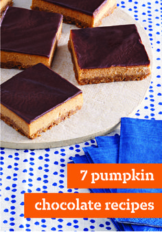 "7 Pumpkin Chocolate Recipes – We took two fall flavor favorites and created some simply divine desserts! These pumpkin chocolate recipes will be the star of any holiday party. Layered Pumpkin-Chocolate Cheesecake is our featured here, but we think the Mini Chocolate-Pumpkin ""Pie Cakes"" and Pumpkin-Chocolate Chunk Cookies look pretty good too. Click here to see all of the delicious options for yourself!"