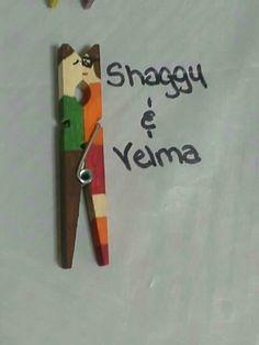 Clothes pin kissing couple. Clothes pin craft diy. Shaggy & Velma (Scooby Doo)