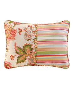 This Orange Floral Garden & Stripe Throw Pillow #zulilyfinds