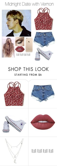 """""""《Midnight Date with Vernon》"""" by mh-loves1d ❤ liked on Polyvore featuring Hollister Co., Converse, Lime Crime, Charlotte Russe and Maison Margiela"""