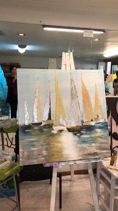 Sailboat Art, Sailboat Painting, Sailboats, Canvas Painting Tutorials, Easy Canvas Painting, Lotus Art, Seascape Paintings, Beach Art, Acrylic Art