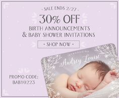 30% Off Photo Newborn Baby Birth Announcements in color or black and white and ALL Baby Shower Invitations