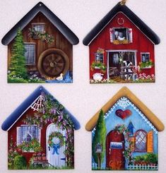 Country Houses Ornaments Pattern, nice ideas for rock painting Christmas Crafts, Christmas Decorations, Christmas Ornaments, Christmas Snowman, Pintura Tole, Navidad Simple, Ornament Pattern, Painted Rocks, Hand Painted