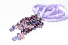Purple Handmade Beaded Lariat Necklace. Lavender Rope Necklace. Long Violet Everyday Wearing Necklace. Bead Crocheted lilac Lariat. on Etsy, $44.00