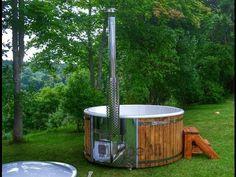 Vildmarksbad i glasfiber Gran, Lærk med integreret ovn Wellness Deluxe - TimberIN