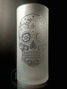 Glass Etched Sugar Skull Vase Fully Etched by MyDaileyCreations