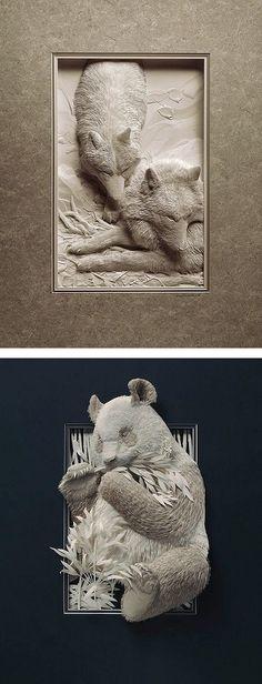 Esculturas realistas Vida Silvestre de papel de Calvin Nicholls