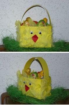 Voici le petit panier réalisé ce matin par Olympe pour les préparatifs de Pâques !!!  - reproduire et découper le gabarit sur de la cartoline jaune, plier suivant les pointillés et découper le ...