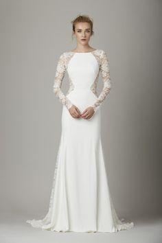 Elegantes Hochzeitskleid in Weiß mit Spitzenärmeln, Taille und Rücken.