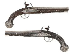 Rare 18th Century Pistols with Solid Silver Barrels and Locks at Bonhams