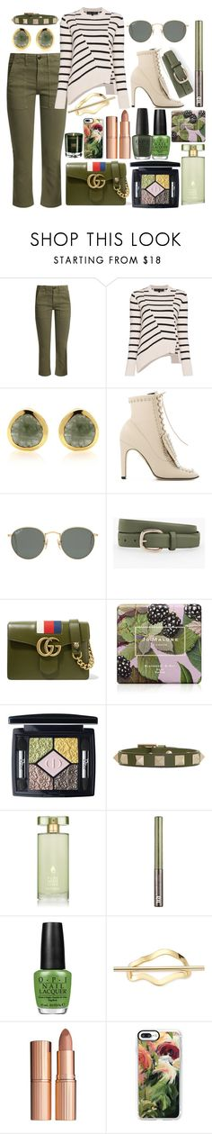 """""""Khaki Style Files"""" by pulseofthematter ❤ liked on Polyvore featuring The Great, Proenza Schouler, Sergio Rossi, Ray-Ban, Talbots, Gucci, Jo Malone, Valentino, Estée Lauder and Urban Decay"""