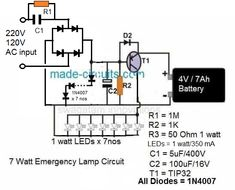 The post discusses 10 simple automatic LED emergency light circuits with built-in trickle charger. Electronics Projects, Electronics Basics, Electronic Circuit Projects, Arduino Projects, Dc Circuit, Circuit Diagram, Electrical Engineering Books, Battery Charger Circuit, Bathroom Towel Decor