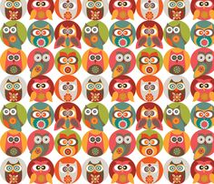 Owl family fabric by valentinaharper on Spoonflower - custom fabric; another neat owl print from Spoonflower