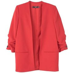 Ruched Sleeves Blazer ($90) ❤ liked on Polyvore featuring outerwear, jackets, blazers, red blazer jacket, ruched-sleeve blazer, blazer jacket, 3/4 sleeve jacket and mango jackets