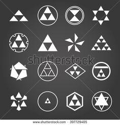Japan religious symbols sacred geometry vector set - stock vector
