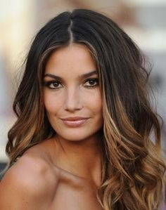 dark brown with highlights medium length hair - Google Search