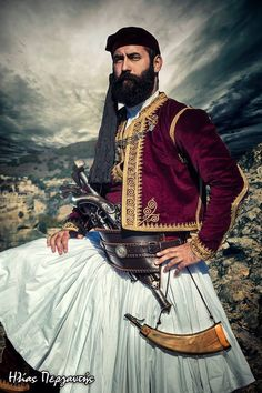 Traditional costume during the times of the Greek War of Independence, early century. Albanian Culture, Greek Culture, Greek Traditional Dress, Traditional Outfits, Folk Clothing, Greek Clothing, Greek Independence, Greek Warrior, How To Make Skirt