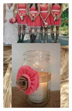 8 Coral  Mason Jar Candle Centerpiece Wedding Party Shower Decorations M2 #BurlapBrides