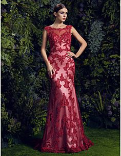 TS Couture® Prom  Formal Evening Dress Plus Size / Petite Trumpet / Mermaid Scoop Court Train Lace with Appliques / Beading / Buttons / Sequins – EUR € 784.00