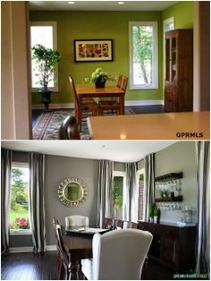 Before and After dining room - what a difference paint color can make!